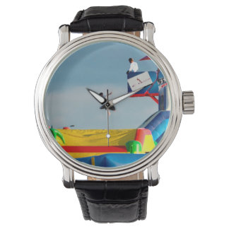kid jumping off ride colorful painting style watches