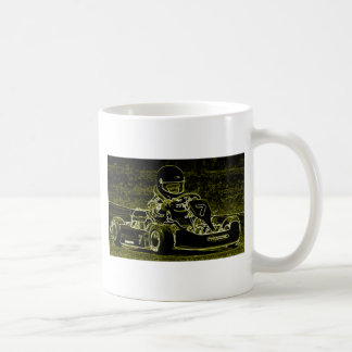 Kid Kart in Black, White, Lt. Green Coffee Mug