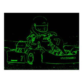 Kid Kart in Green Postcards