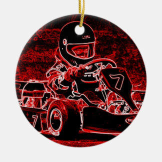 Kid Karts Are RED Hot! Double-Sided Ceramic Round Christmas Ornament