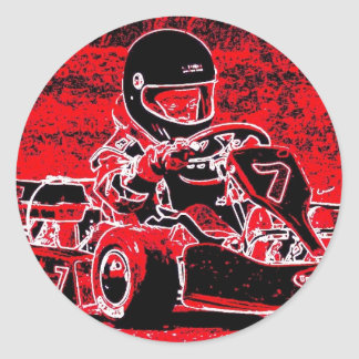 Kid Karts are red RED Hot! Classic Round Sticker