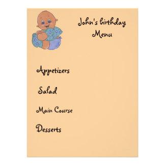 kid menu personalized announcements