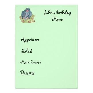 kid menu personalized announcement