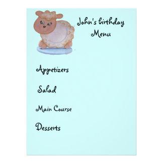 kid menu personalized invites