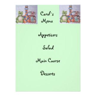kid menu custom invitation