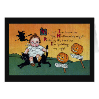 Kid on Cat and JOL Signposts Vintage Halloween Greeting Card