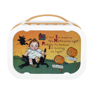 Kid on Cat and JOL Signposts Vintage Halloween Lunch Box