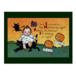 Kid on Cat and JOL Signposts Vintage Halloween Postcard