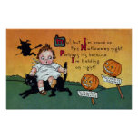 Kid on Cat and JOL Signposts Vintage Halloween Posters