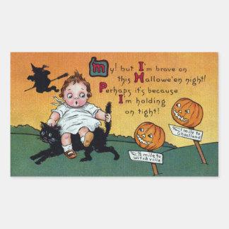 Kid on Cat and JOL Signposts Vintage Halloween Rectangular Sticker