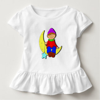 Kid on the moon White ruffle dress. Toddler T-shirt