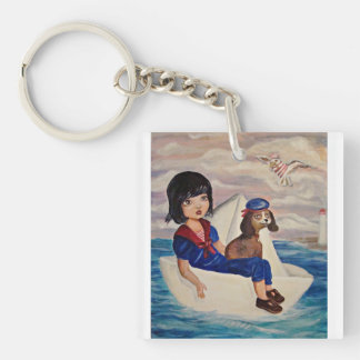 Kid on the sea paper boat, beagle, big eyed girl acrylic keychains