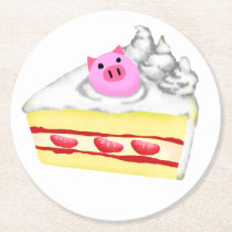 Kid Pig with Cake Round Paper Coaster
