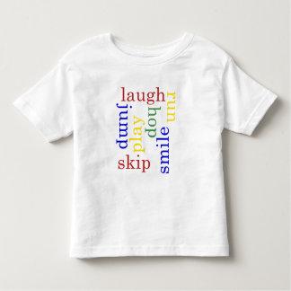 Kid Play, laugh, run, jump Typography t-shirt