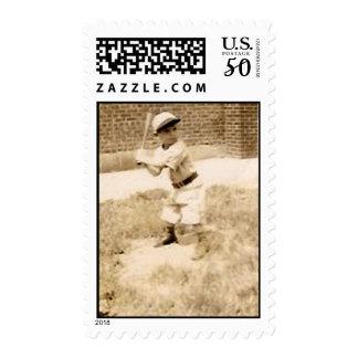 kid playing baseball postage