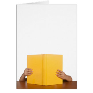Kid reading a book card