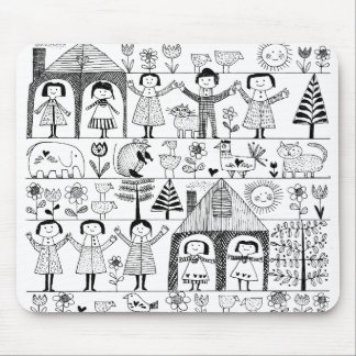 Kid s Folk Art Drawing of Children and Animals Mousepads