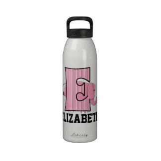 Kid s Pink Elephant Monogrammed E Drinking Bottle