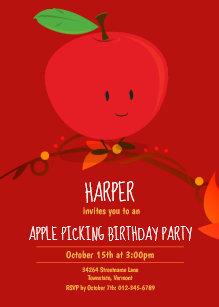 Kids Red Apple Picking Birthday Party Invitation