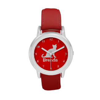 Kid s watch with white cat Customizable pet name