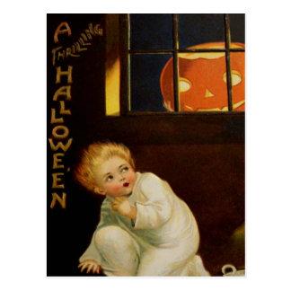 Kid Scared By Jack O' Lantern In Window Postcard