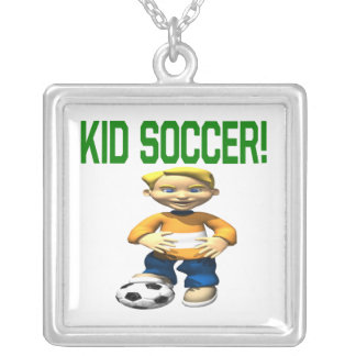 Kid Soccer Square Pendant Necklace