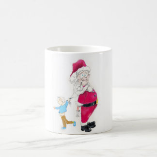 Kid tugging on Santa's Beard Coffee Mug