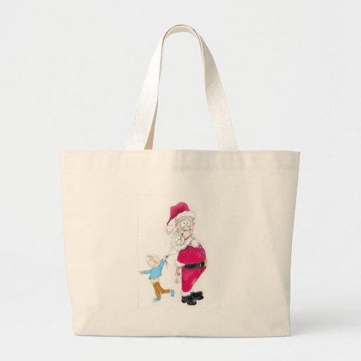 Kid tugging on Santa's Beard Jumbo Tote Bag