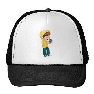 Kid using tablet trucker hat