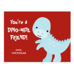 Kid Valentine's Day Card - Dino-mite Friend Postcards