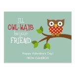 Kid Valentine's Day Card - Owl-ways Friends Postcard