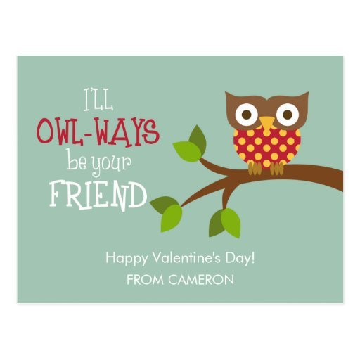 Kid Valentine's Day Card - Owl-ways Friends Postcards