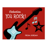 Kid Valentine's Day Card - You Rock Postcard