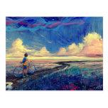 Kid Walking a Bicycle Painting Postcard