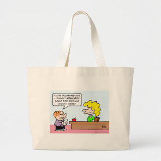 Kid wants seniority to count for grades. large tote bag