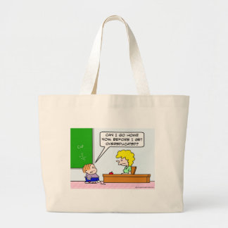 Kid wants to leave before he's overeducated. large tote bag