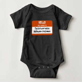 Kid Who Hates Halloween Costumes Nametag Baby Bodysuit