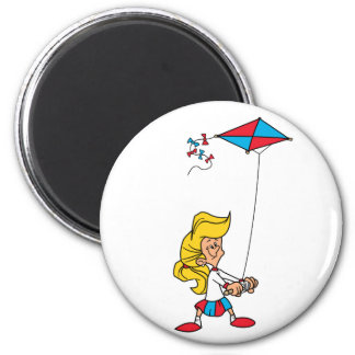 Kid With a Kite 2 Inch Round Magnet