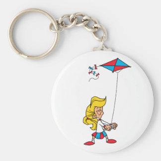 Kid With a Kite Basic Round Button Keychain