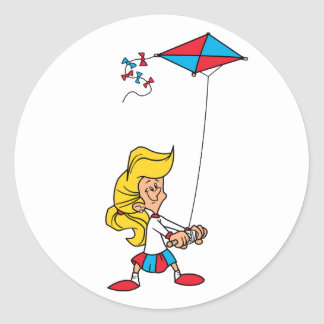 Kid With a Kite Classic Round Sticker