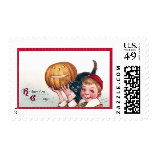Kid with Cat and Jack O'Lantern Postage