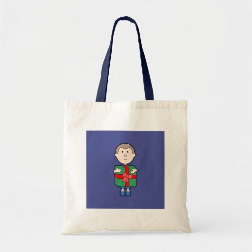 kid with christmas gift budget tote bag