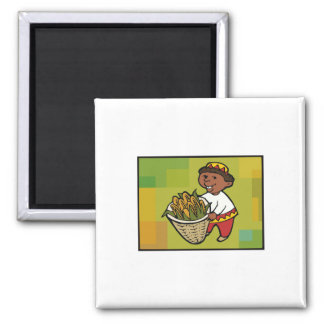 Kid with Corn for Kwanzaa 2 Inch Square Magnet