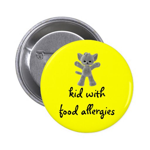 Kid with food allergies button