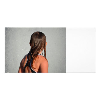 kid with wet hair in fountain photo card template