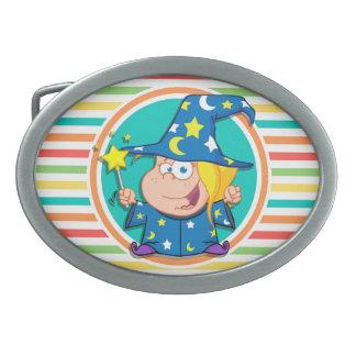 Kid Wizard on Bright Rainbow Stripes Belt Buckle