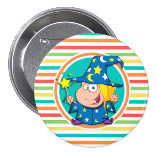 Kid Wizard on Bright Rainbow Stripes Pin