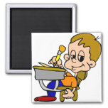 Kid Writing At Desk 2 Inch Square Magnet