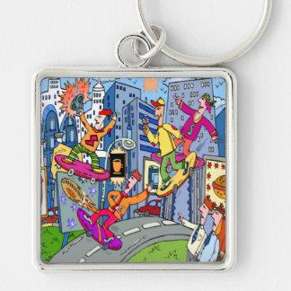 Kid Zazzle Skate Board Silver-Colored Square Keychain