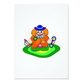 Kiddie clown & horn 5x7 paper invitation card